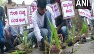Karnataka: Students protest against poor road conditions in Shivamogga, plant saplings in potholes