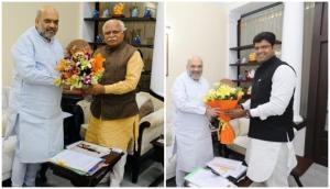 Haryana CM Khattar, Dushyant Chautala meet Amit Shah