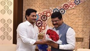 Oil Minister Dharmendra Pradhan meets Andhra CM Jagan Reddy, Governor in Amaravati