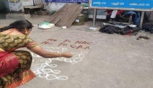 Chennai: Five women take to 'rangoli' to protest against CAA