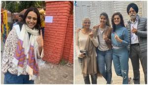Swara Bhaskar, Taapsee Pannu cast their vote in Delhi Assembly polls