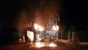 Road mishap in Gujarat: Bus catches fire on Ahmedabad-Vadodara expressway, all passengers rescued