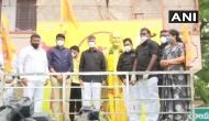 TDP leaders pay tribute to founder ahead of Andhra Assembly session, wear black shirts in protest against state govt