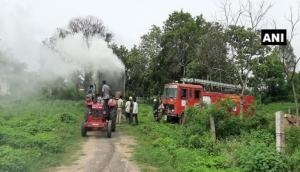 Telangana: Container carrying medicines catches fire in Ranga Reddy district