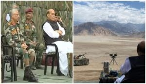 Leh: Rajnath Singh witnesses para dropping skills of Armed Forces at Stakna