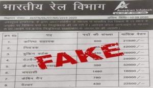 रेलवे ने किया सावधान, भारतीय रेलवे में 5285 पदों पर भर्ती के लिए आवेदन वाला विज्ञापन फर्जी