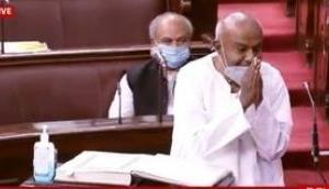 HD Deve Gowda takes oath as Rajya Sabha member
