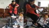 गेहूं पीसने के लिए इस महिला ने निकाला नायाब तरीका, वीडियो में देखें कैसे साइकिलिंग कर बनाया आटा