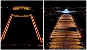 National Mall illuminated with pillars of light, 'Field of Flags' for Americans who can't attend Biden's inauguration