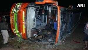 Karnataka: 2 dead, 20 injured after bus turns turtle