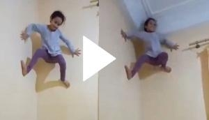 5-year-old girl climbs wall like a spiderman; video will leave you rubbing your eyes