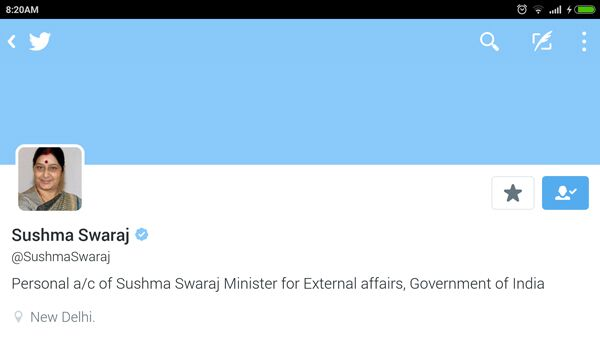 Sushma Swaraj- Twitter handle