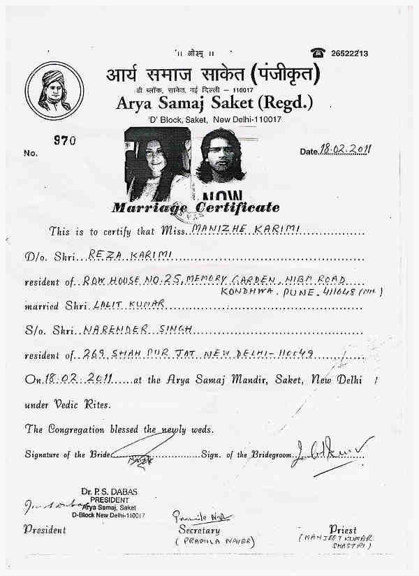 Mandana-Karimi-marriage-certificate/ fashionscandal.com