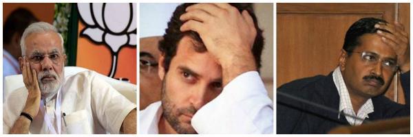 Rahul Gandhi, Narendra Modi and Kejriwal
