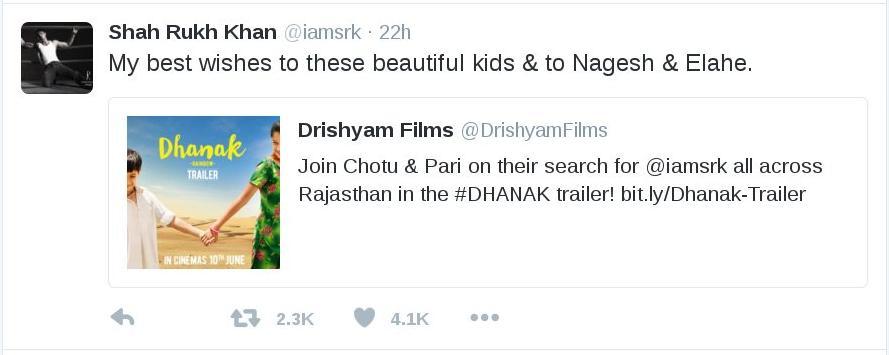 Shahrukh tweet to Dhanak.jpg