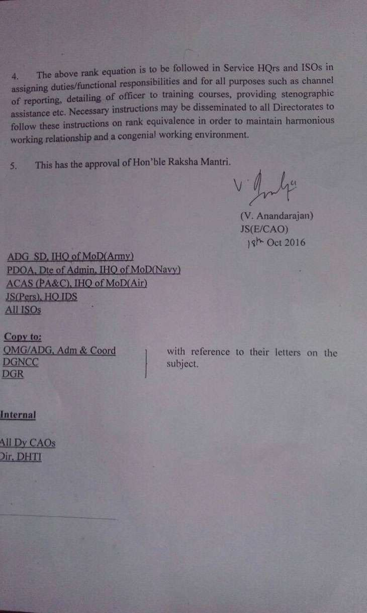 A Defence Ministry circular on 18 October brought