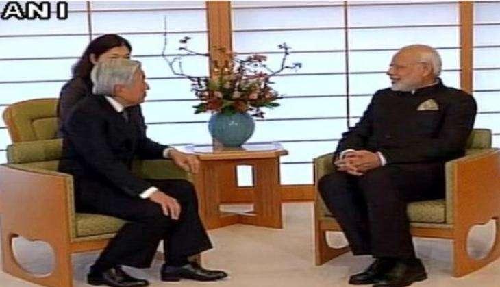 Prime Minister Narendra Modi meets Japanese Emperor Akihito on his three day visit to Japan