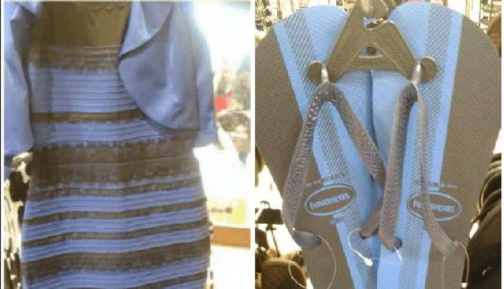 the dress flip flops blue white