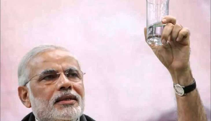 Modi with water