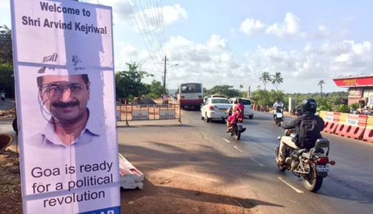 A poster outside the rally venue in Benaulim